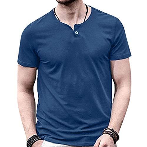 Blue-cashmere Crewneck Pullover (Yvelands Herren Männer T-Shirt Casual Kurzarm Volltonfarbe Frühling Sommer Button Oansatz Tops Bluse Weste(Blue,XXL))