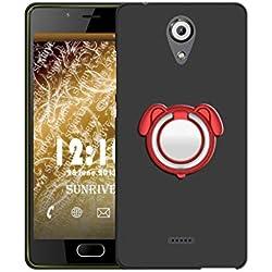 Sunrive Coque pour Wiko UFEEL Lite, 360 degrés Métal Support Bague Rotation Ring Stand Holder Étui Silicone Mat Housse Protecteur Back Case(Couleur Rouge)+ Stylet OFFERTS