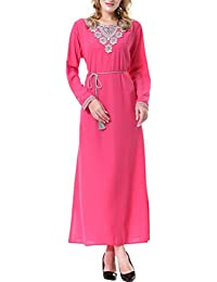 Zhhlaixing Ventas calientes Muslims Wool Peach Arab Middle East Dubai Saudi Arabia Ladies Dress Long Sleeve Robe for Women