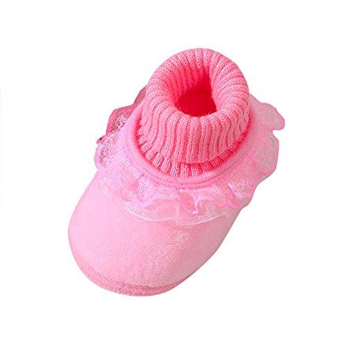 ❤️Amlaiworld Bébé Fille Chaussons Chaussures Souples Dentelle à Semelle Chaussures à Tricot Solide Chaussures de Berceau pour Filles 0-18Mois