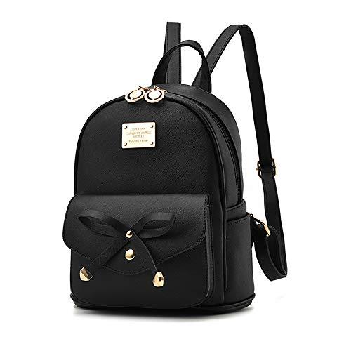 TnXan Casual Daypacks Bow Small Backpack Ladies PU Leather Female Shoulder Bags Purse Teenage Girls School Bag Backpack Women