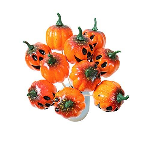 Amosfun Halloween Bouquet Sticks Kürbis Grimasse Halloween Flower Autumn Home Innendekoration 10 Stück -
