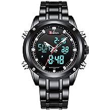 d5c79df1dcbb Relojes Digitales Analógicos para Hombres Reloj Cronógrafo Impermeable  Deportivo Hombre Relojes de Pulsera Multifuncionales Acero Inoxidable