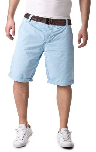 Sublevel Short Chino Trousers with Belt Light Blue