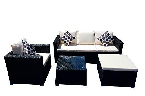 Rattan Garden Furniture 5-Seater Sofa Table Chairs Garden Furniture Set (Black)