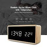 Bambou En Bois Miroir Alarme Horloge Température Sonne Contrôle Horloge De Bureau...