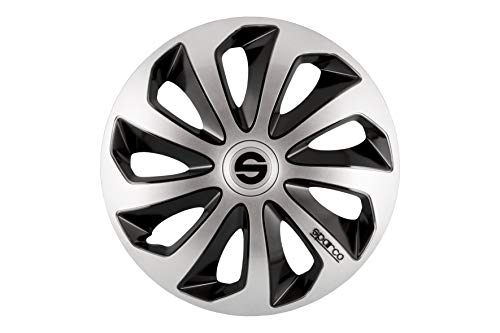 SPARCO SPC1673SVBK Sicilia Wheel Covers, Silver/Black, Set of 4, 16