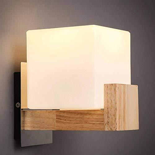 QQA Moderne led Wandleuchte nachtwandleuchte Schlafzimmer einfache Holz Kunst Gang Lampe innenleuchte, warmweißes licht