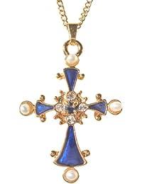 Kreuz Anhänger, Nachbildung die Chance-Saphir und Perlen