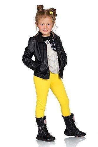 FUTURO FASHION Dick Warm Kinder Baumwollleggings Mädchen Hose Einfarbig Volle Länge Kinder Hosen Alter 2 3 4 5 6 7 8 9 10 11 12 13 - Gelb, 134