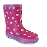 Kids Girls Childrens Rubber Rain Snow Boots Wellies Wellingtons Boots Pink 2
