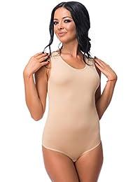Evoni Damenbody | Verschiedene Farben&Größen | Damen Overall Bodysuit mit Rundhals | Breite Träger | Verschluß-Haken | Unterzieh-Body mit Optimaler Passform | sportlicher Damen-Body