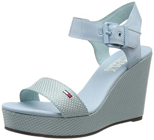 Hilfiger Denim Damen Material Mix Wedge Sandal Plateausandalen, Blau (Canal Blue 446), 38 EU - Keil Stoff Schuhe Sandalen Damen