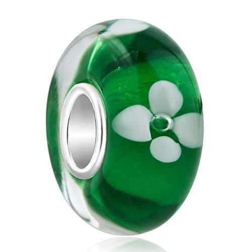Korliya fiore charm in argento sterling 925vetro di murano per bracciale e argento, colore: green, cod. emw_gbss_tjys254