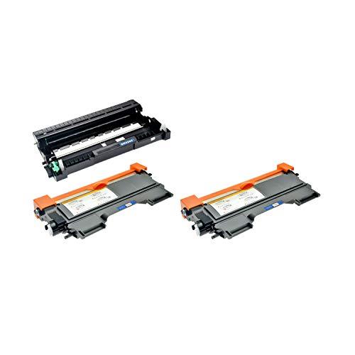 Logic-Seek 2 Toner mit Trommel kompatibel für TN-2220 TN-2010 DR-2200 Brother MFC-7360N HL-2240DR L HL-2250DNR HL-2270DW HL-2130 - XXL Füllmenge, Schwarz je 5.200 Seiten, Trommel 12.000 Seiten