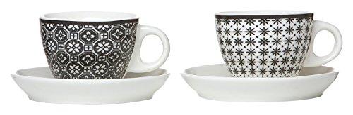 Ritzenhoff & Breker 083323 Maya Service de tasses à café, 6 pièces, 300 ml, Porcelaine, Blanc/Noir, Porcelaine, Blanc/noir, 19x14x18 cm