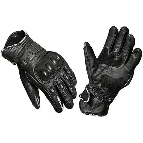 mbsmoto Moto Sport Cruiser protettiva in pelle Guanti, Black, L - Pelle Moto Guanto