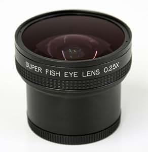 Minadax accessoire fisheye 0,25 x pour canon powershot g10, g11, g12–argent