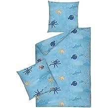 Dormisette 3306-50, Ropa de cama para niños de franela fina para chicos, mar y peces, 135 x 200 cm con 80 x 80 cm, azul