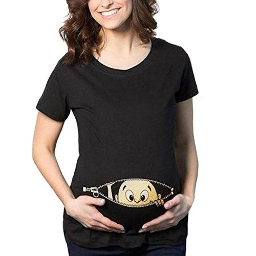 Maglietta per l'allattamento elegante - feixiang® camicie e casacche da premaman camicia da donna per maternità camicia a doppio strato con maniche avvolgibili bambino per maternità (nero, m)