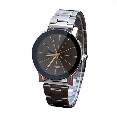 Uhr Damen, VECOLE Paar Stahlarmband Ray Pointer Uhr Quarz Analoganzeige Uhr Mode Elegant Einfach Großzügig Präzises Uhrwerk 12 Stunden Zifferblatt(Schwarz-1)