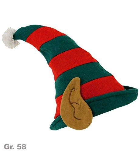 Hut Weihnachtswichtel, Gr. 58 cm, Mottoparty, (Kostüme Mann Lebkuchen)