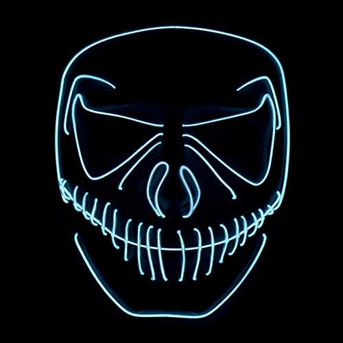(Queta Party Maske, LED Light EL Wire Cosply Maske für Halloween Christmas Party Festival Kostüm Mask Purge Horror Mask by (Weiss))