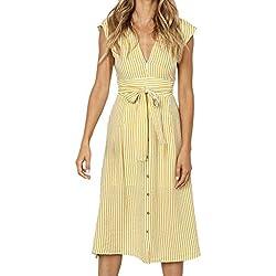 Amlaiworld_Vestidos Mujer Verano 2019 con cinturón Vestido sin Espalda con botón de Rayas Sexy para Mujer de Fiesta Noche Vestidos de Elegante de Noche Nina