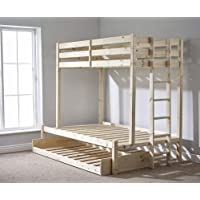 Strictly Beds and Bunks Limited Triple sleeper bunk bed with trundle - 4ft 6 double Three sleeper bunkbed - Can be used by adults