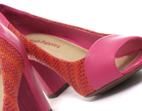 Hush Puppies Sisany Peep Toe, Escarpins femme Pink Leather/Orange Raffia