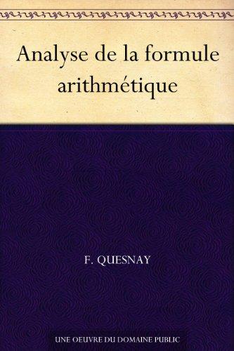 Couverture du livre Analyse de la formule arithmétique