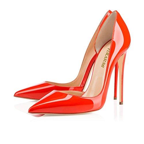 EDEFS Femmes Artisan Fashion Escarpins Classiques Pointus Des Couleurs Chaussures à talon haut 120MM Bleu Orange