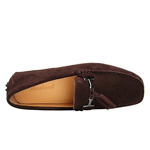 Shenduo Mocassins Pour Homme Cuir - Loafers Confort - Chaussures de Ville D7157 Café
