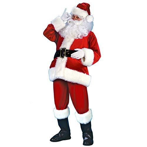 ddellk Erwachsene Santa Anzug, Plüsch Vater Phantasie Weihnachten Cosplay Kleidung Mantel Hosen Bart Gürtel Hut Weihnachten Set