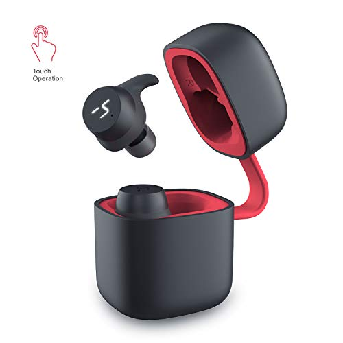Havit auricolari bluetooth senza fili auricolare bluetooth 5.0 sportive in ear vere mini cuffie stereo wireless con ipx6 impermeabili, touch control, microfono per telefoni cellulari, nero+rosso