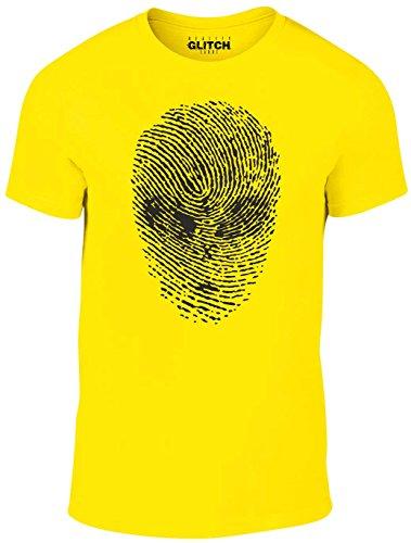 Reality Glitch Herren Alien Gesicht Daumen Drucken T-Shirt (Gelb, Klein) (Gelben T-shirt Branchen)