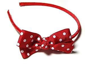 Rouge Pois Blancs-Noeud Papillon texturé-Headband/Serre-tête-Accessoires Cheveux