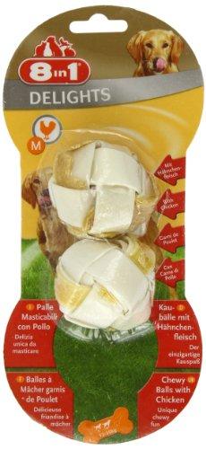 8in1 Delights Kaubälle Größe M (gesunder Kausnack in Ballform für Hunde von 12 bis 35 kg, mit echtem Hähnchenfleisch), 2 Stück (40 g)