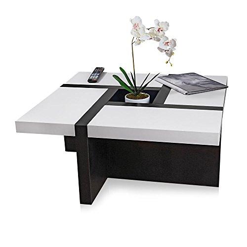 Melko® Couchtisch Wohnzimmertisch weiß / schwarz, 80x80x35 cm, Beistelltisch Designertisch Holz