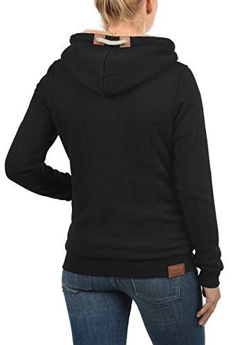 DESIRES Vicky Zip-Hood Damen Sweatjacke Kapuzen-Jacke Zip-Hood aus hochwertiger Baumwollmischung Meliert Black mit Teddy-Futter