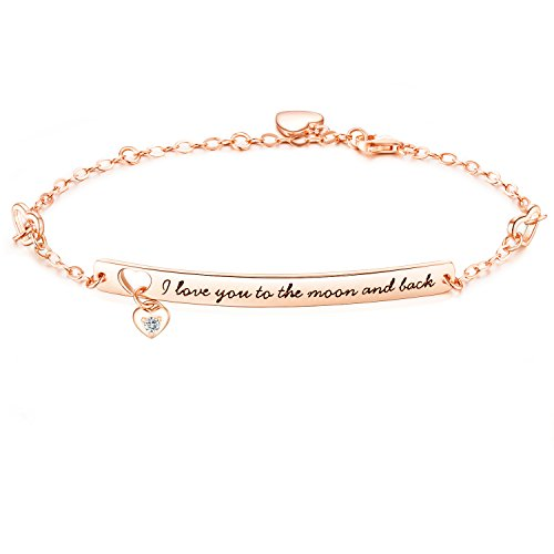 "NinaMaid ""I Love You to The Moon and Back"" Gravur 925 Sterling Silber Armband mit Funkelnden Zirkonia 8.7 inches"
