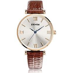 ETEVON Women's Quartz Retro Leather Watch wasserdicht mit Rose Gold Dial und braun Armband, Fashion Luxury Casual Dress Wrist Uhren für Damen Ladies