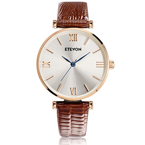 ETEVON Women's Quartz Retro Leather Watch wasserdicht mit Rose Gold Dial und braun Armband, Fashion Luxury Casual Dress Wrist Uhren für Damen Ladies Womens Römischen Stil Kleid