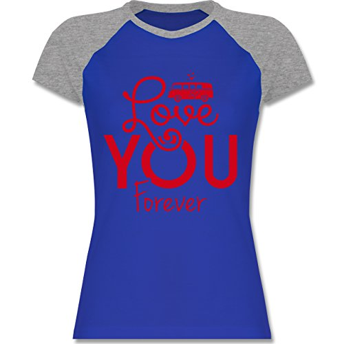 Statement Shirts - Love You Forever Bus T1 - Zweifarbiges Baseballshirt/Raglan T-Shirt für Damen Royalblau/Grau meliert