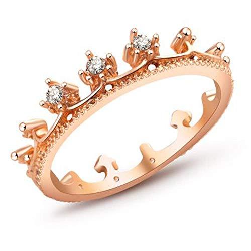 OLGN Bague Autochtone oro Blanco mi Princesa Reina Corona diseño anillo de bodas joyería femenina,...