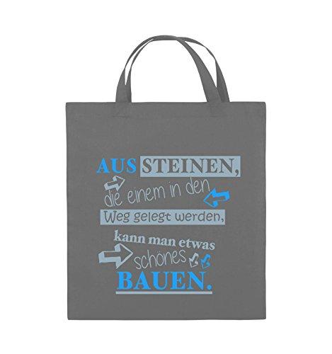 Comedy Bags - Aus Steinen, die einem in den Weg gelegt werden, kann man etwas schönes Bauen. - Jutebeutel - kurze Henkel - 38x42cm - Farbe: Schwarz / Weiss-Neongrün Dunkelgrau / Eisblau-Blau