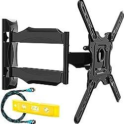 Invision TV Wandhalterung Ultra Schlank Schwenkbar Neigbar - Für 24-55 Zoll LED, OLED, Plasma und Gekrümmte Bildschirme Wandhalter Fernseher - Max VESA 400x400mm (HDTV-E)