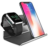 Apple iPhone 8 Stand iPhone X Stand, BENTOBEN Apple Watch Plastica Ricarica Posizione 2 in 1 Magnetica Docking Station Regalo per Apple Watch e iPhone 5 / 6 /7 / 8 / X-Grigio nero