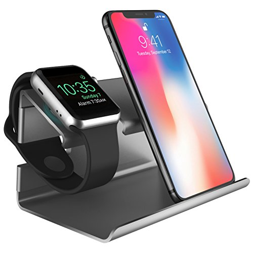 Docking station apple watch stand apple iphone 8 supporto bentoben iphone x stand plastica ricarica posizione 2 in 1 magnetica per apple watch huawei android cellulare e iphone 5 / 6 /7 / 8 / x-grigio nero