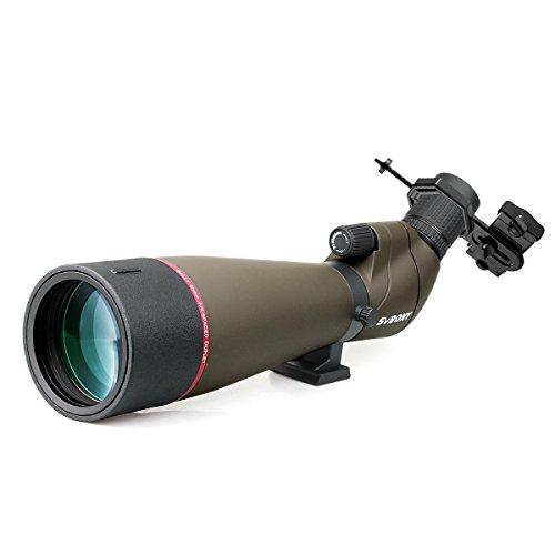 Svbony Spektiv 20-60x65 SV13 Wasserdicht 45 Grad abgewinkelt Okular mit Handy Adapter für Vogelbeobachtung Sportschützen Himmelsbeobachtung